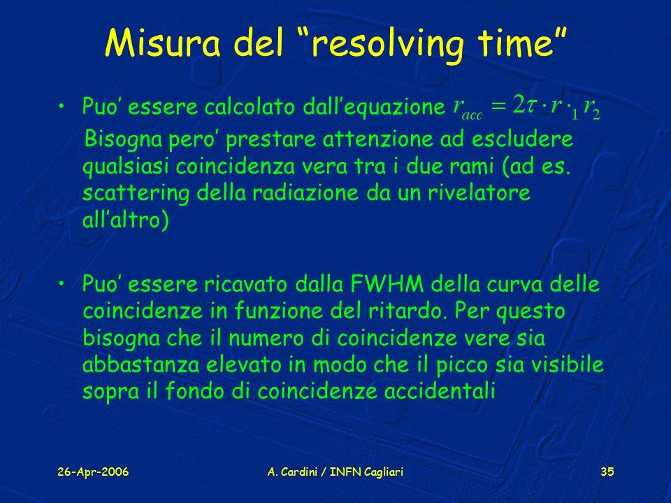 26-Apr-2006A. Cardini / INFN Cagliari35 Misura del resolving time Puo essere calcolato dallequazione Bisogna pero prestare attenzione ad escludere qua