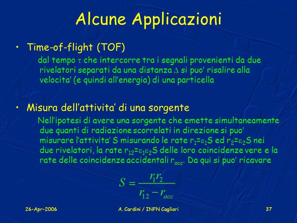 26-Apr-2006A. Cardini / INFN Cagliari37 Alcune Applicazioni Time-of-flight (TOF) dal tempo che intercorre tra i segnali provenienti da due rivelatori