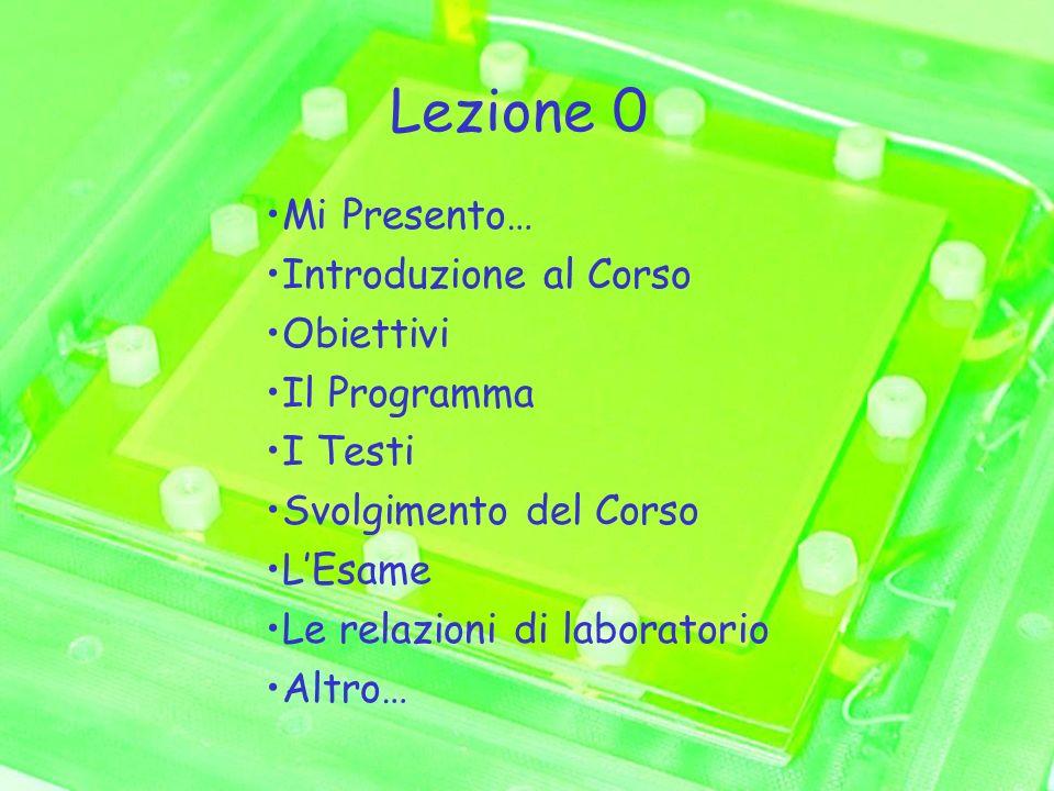 Lezione 0 Mi Presento… Introduzione al Corso Obiettivi Il Programma I Testi Svolgimento del Corso LEsame Le relazioni di laboratorio Altro…