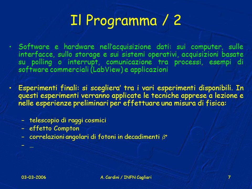 03-03-2006A. Cardini / INFN Cagliari7 Il Programma / 2 Software e hardware nellacquisizione dati: sui computer, sulle interfacce, sullo storage e sui