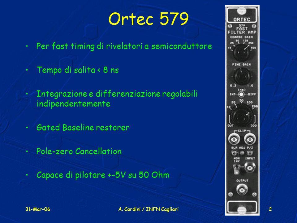 31-Mar-06A. Cardini / INFN Cagliari2 Ortec 579 Per fast timing di rivelatori a semiconduttore Tempo di salita < 8 ns Integrazione e differenziazione r