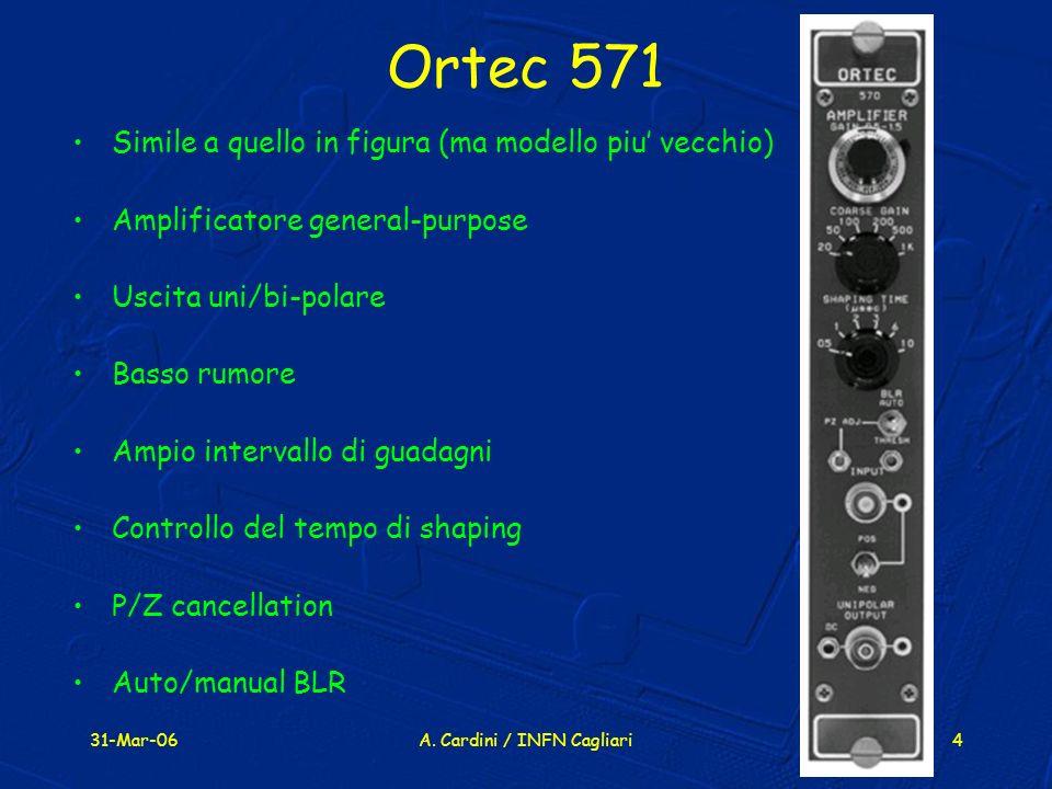 31-Mar-06A. Cardini / INFN Cagliari4 Ortec 571 Simile a quello in figura (ma modello piu vecchio) Amplificatore general-purpose Uscita uni/bi-polare B