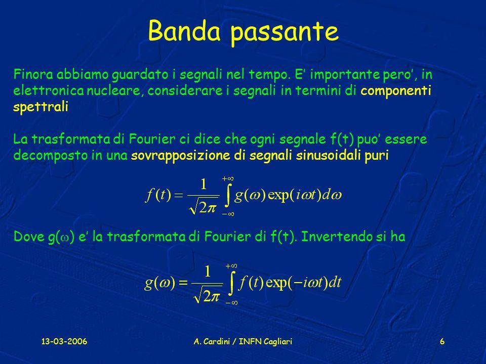 13-03-2006A.Cardini / INFN Cagliari6 Banda passante Finora abbiamo guardato i segnali nel tempo.