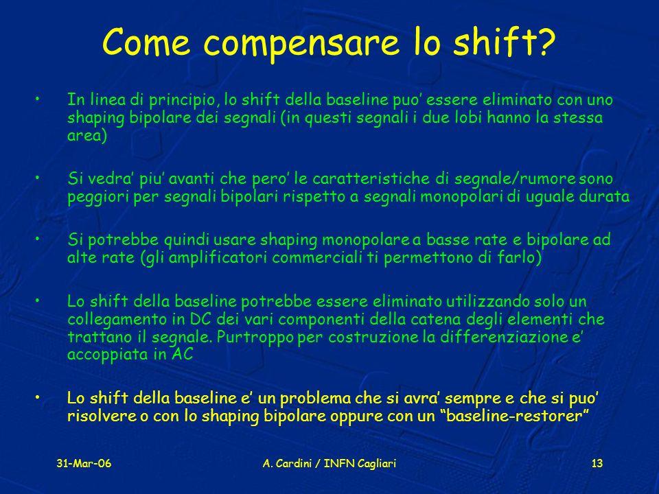 31-Mar-06A. Cardini / INFN Cagliari13 Come compensare lo shift? In linea di principio, lo shift della baseline puo essere eliminato con uno shaping bi