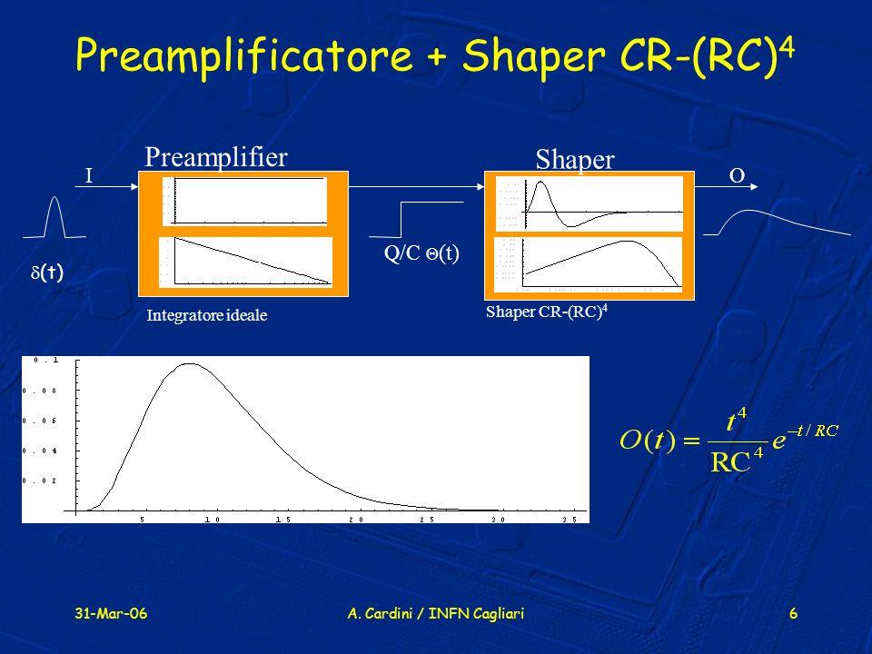 31-Mar-06A. Cardini / INFN Cagliari6 Preamplificatore + Shaper CR-(RC) 4 Preamplifier Shaper (t) I O t f t f Shaper CR-(RC) 4 Integratore ideale Q/C (