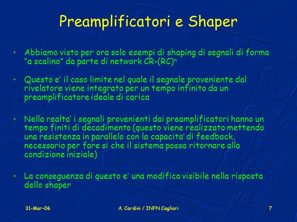 31-Mar-06A. Cardini / INFN Cagliari7 Preamplificatori e Shaper Abbiamo visto per ora solo esempi di shaping di segnali di forma a scalino da parte di