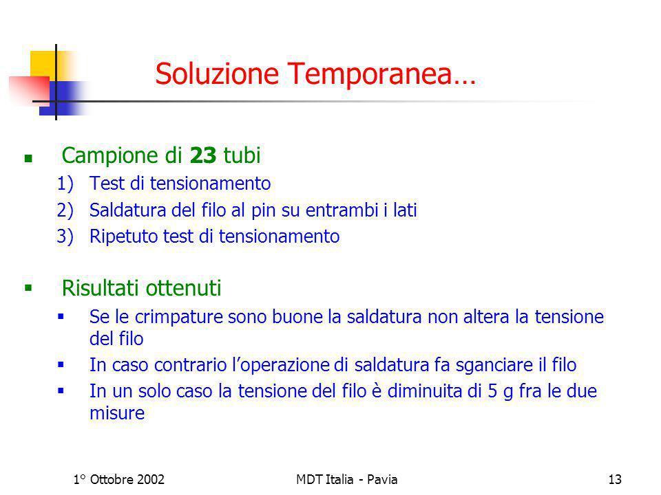 1° Ottobre 2002MDT Italia - Pavia13 Soluzione Temporanea… Campione di 23 tubi 1)Test di tensionamento 2)Saldatura del filo al pin su entrambi i lati 3