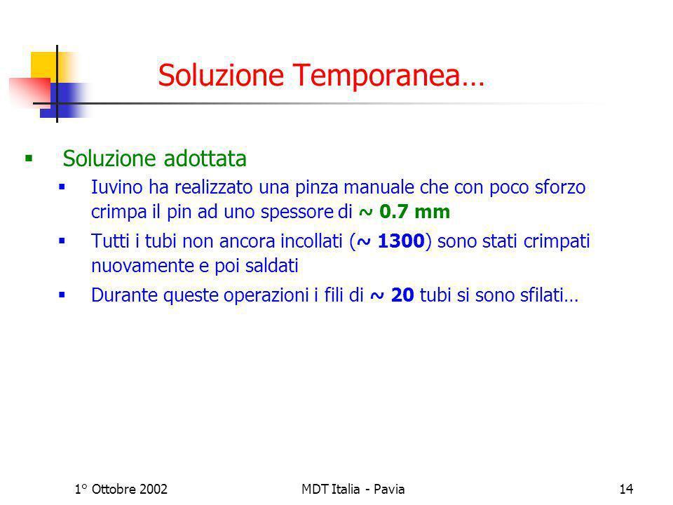 1° Ottobre 2002MDT Italia - Pavia14 Soluzione Temporanea… Soluzione adottata Iuvino ha realizzato una pinza manuale che con poco sforzo crimpa il pin