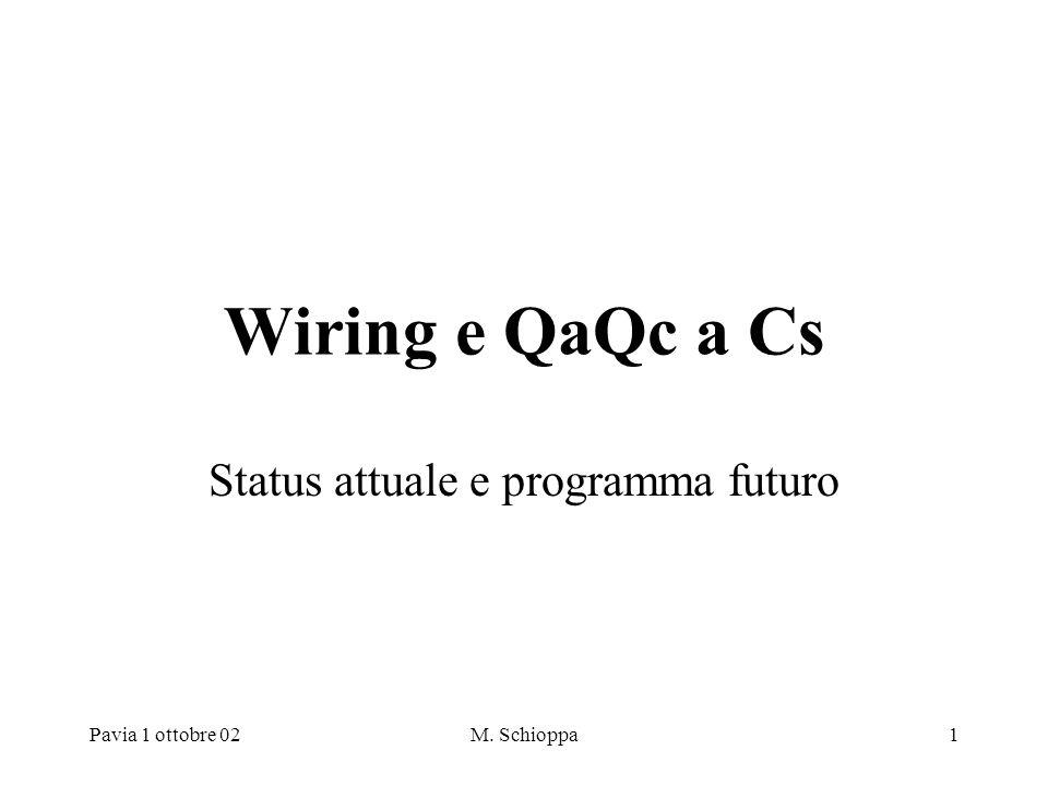 Pavia 1 ottobre 02M. Schioppa1 Wiring e QaQc a Cs Status attuale e programma futuro
