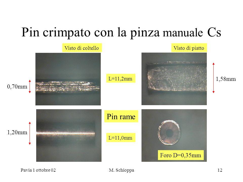 Pavia 1 ottobre 02M. Schioppa12 Pin crimpato con la pinza manuale Cs Pin rame 1,20mm 1,58mm 0,70mm Visto di coltelloVisto di piatto Foro D=0,35mm L=11