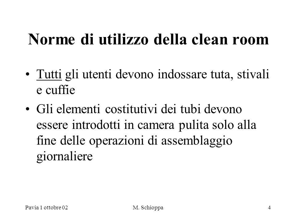 Pavia 1 ottobre 02M. Schioppa4 Norme di utilizzo della clean room Tutti gli utenti devono indossare tuta, stivali e cuffie Gli elementi costitutivi de