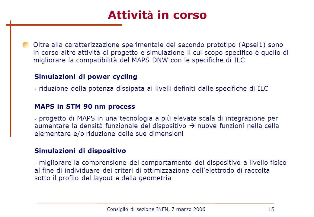 15 Attivit à in corso Simulazioni di power cycling riduzione della potenza dissipata ai livelli definiti dalle specifiche di ILC MAPS in STM 90 nm pro