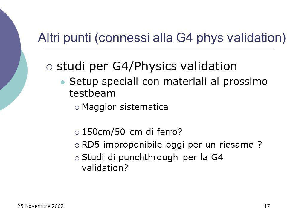 25 Novembre 200217 Altri punti (connessi alla G4 phys validation) studi per G4/Physics validation Setup speciali con materiali al prossimo testbeam Ma