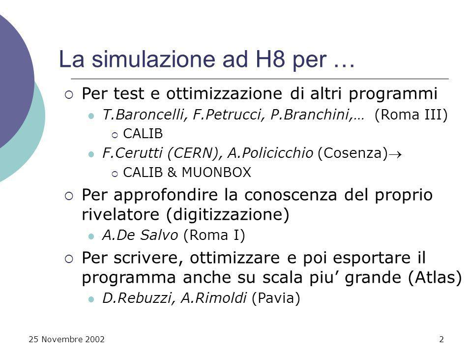 25 Novembre 20022 La simulazione ad H8 per … Per test e ottimizzazione di altri programmi T.Baroncelli, F.Petrucci, P.Branchini,… (Roma III) CALIB F.Cerutti (CERN), A.Policicchio (Cosenza) CALIB & MUONBOX Per approfondire la conoscenza del proprio rivelatore (digitizzazione) A.De Salvo (Roma I) Per scrivere, ottimizzare e poi esportare il programma anche su scala piu grande (Atlas) D.Rebuzzi, A.Rimoldi (Pavia)