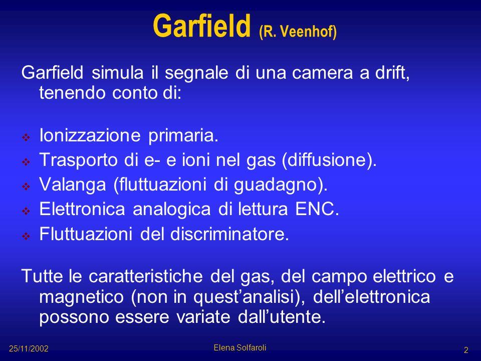 Garfield (R. Veenhof) Garfield simula il segnale di una camera a drift, tenendo conto di: Ionizzazione primaria. Trasporto di e- e ioni nel gas (diffu