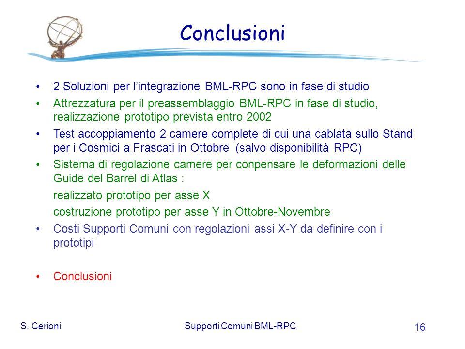 S. CerioniSupporti Comuni BML-RPC 16 Conclusioni 2 Soluzioni per lintegrazione BML-RPC sono in fase di studio Attrezzatura per il preassemblaggio BML-