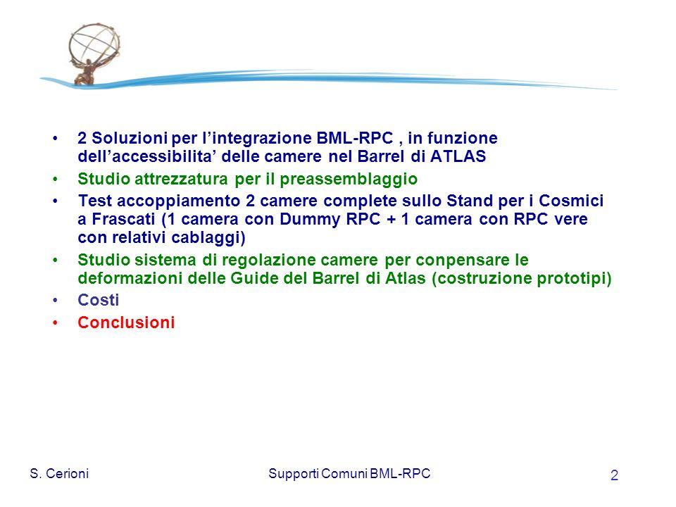 Supporti Comuni BML-RPC 2 2 Soluzioni per lintegrazione BML-RPC, in funzione dellaccessibilita delle camere nel Barrel di ATLAS Studio attrezzatura per il preassemblaggio Test accoppiamento 2 camere complete sullo Stand per i Cosmici a Frascati (1 camera con Dummy RPC + 1 camera con RPC vere con relativi cablaggi) Studio sistema di regolazione camere per conpensare le deformazioni delle Guide del Barrel di Atlas (costruzione prototipi) Costi Conclusioni