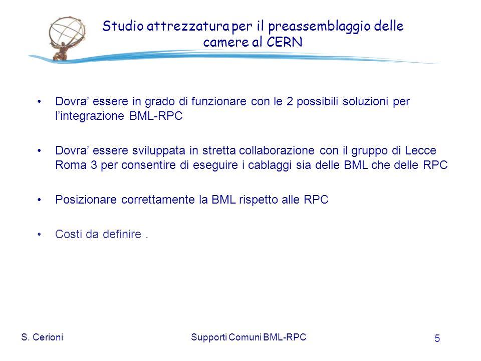S. CerioniSupporti Comuni BML-RPC 5 Studio attrezzatura per il preassemblaggio delle camere al CERN Dovra essere in grado di funzionare con le 2 possi