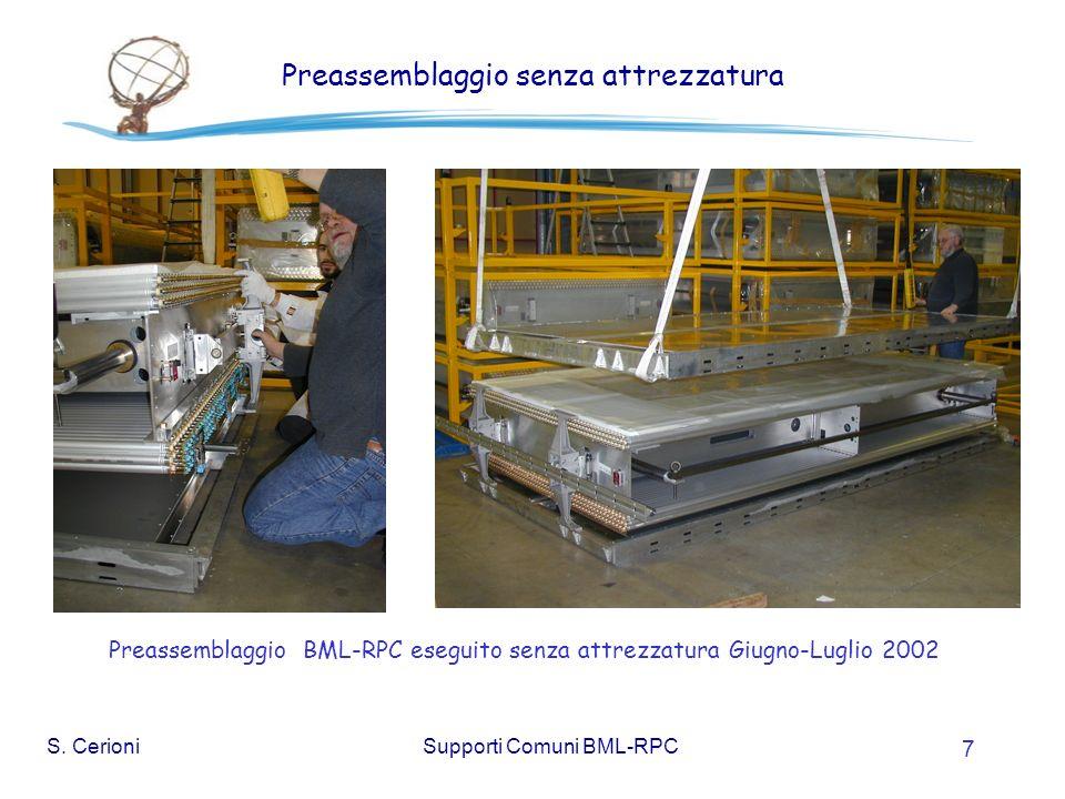 S. CerioniSupporti Comuni BML-RPC 7 Preassemblaggio senza attrezzatura Preassemblaggio BML-RPC eseguito senza attrezzatura Giugno-Luglio 2002