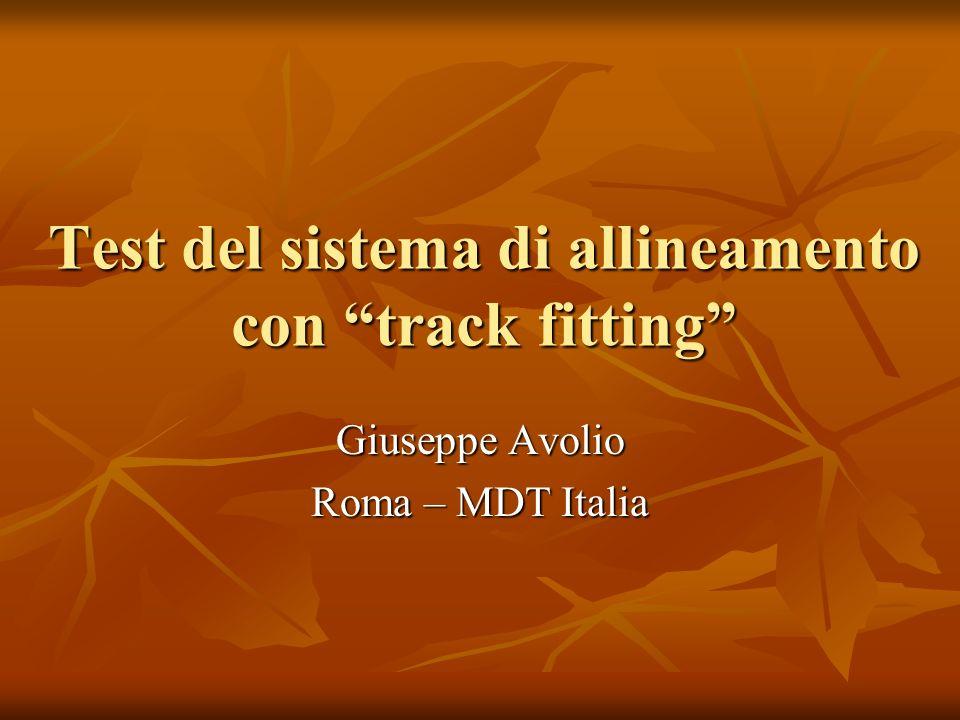 Test del sistema di allineamento con track fitting Giuseppe Avolio Roma – MDT Italia