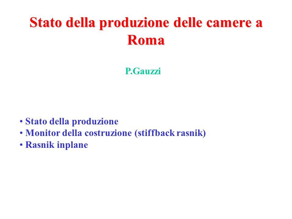 Stato della produzione delle camere a Roma Stato della produzione Monitor della costruzione (stiffback rasnik) Rasnik inplane P.Gauzzi