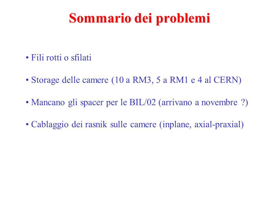 Sommario dei problemi Fili rotti o sfilati Storage delle camere (10 a RM3, 5 a RM1 e 4 al CERN) Mancano gli spacer per le BIL/02 (arrivano a novembre ) Cablaggio dei rasnik sulle camere (inplane, axial-praxial)