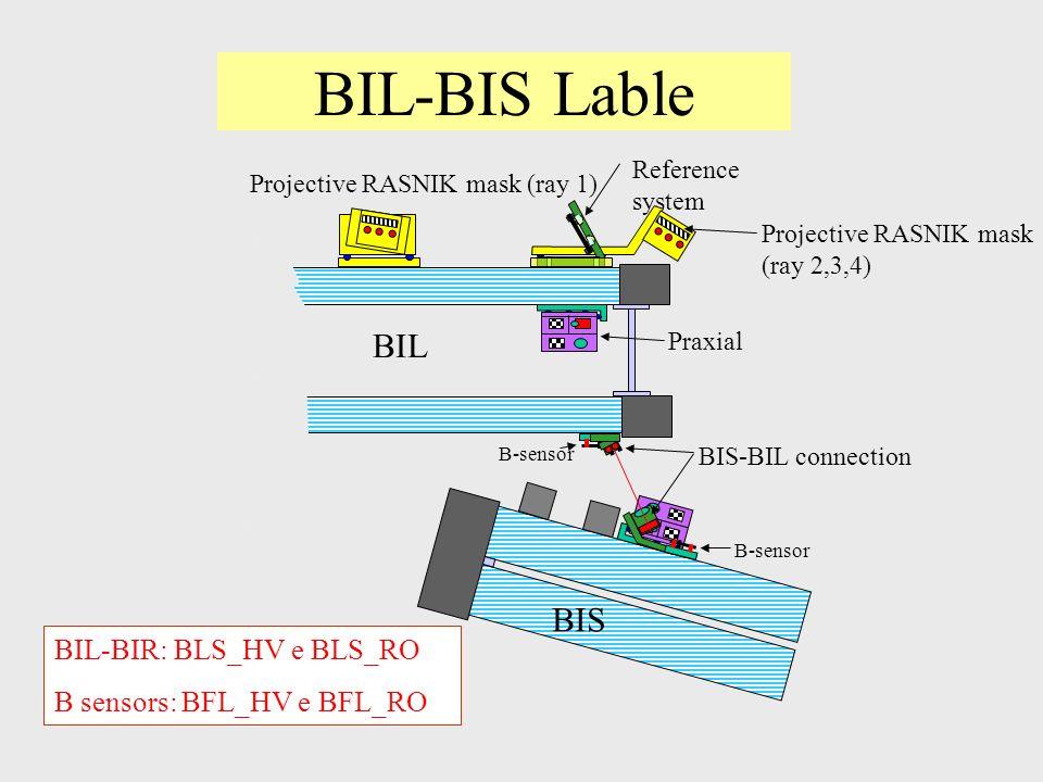 BIL-BIS Lable Reference system Projective RASNIK mask (ray 2,3,4) BIL BIS BIS-BIL connection Projective RASNIK mask (ray 1) Praxial B-sensor BIL-BIR: BLS_HV e BLS_RO B sensors: BFL_HV e BFL_RO