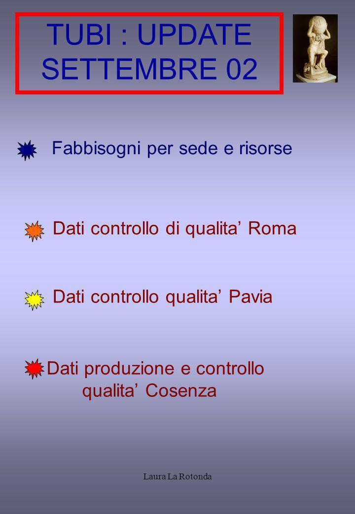 Laura La Rotonda TUBI : UPDATE SETTEMBRE 02 Fabbisogni per sede e risorse Dati controllo di qualita Roma Dati controllo qualita Pavia Dati produzione