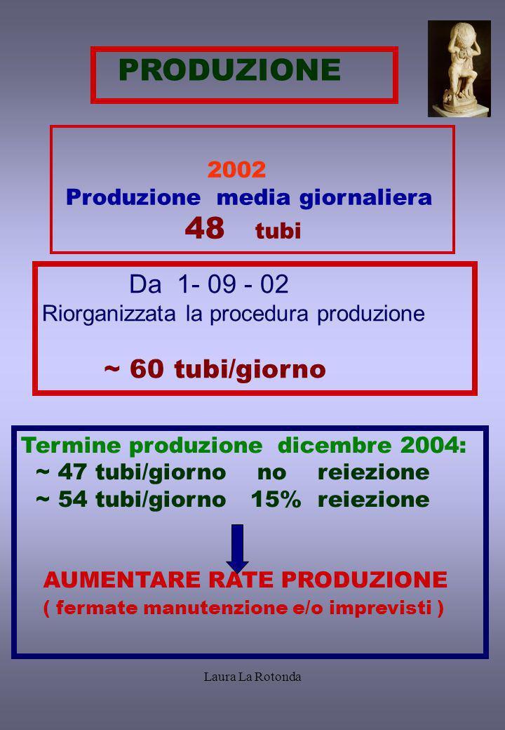 Laura La Rotonda PRODUZIONE 2002 Produzione media giornaliera 48 tubi Da 1- 09 - 02 Riorganizzata la procedura produzione ~ 60 tubi/giorno Termine pro