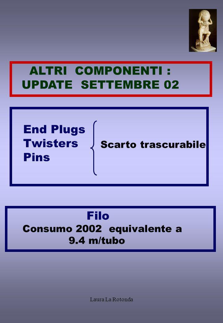Laura La Rotonda ALTRI COMPONENTI : UPDATE SETTEMBRE 02 End Plugs Twisters Pins Scarto trascurabile Filo Consumo 2002 equivalente a 9.4 m/tubo