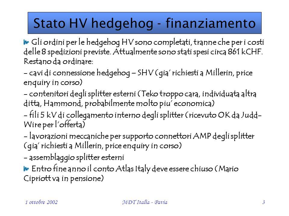1 ottobre 2002MDT Italia - Pavia3 Gli ordini per le hedgehog HV sono completati, tranne che per i costi delle 8 spedizioni previste.