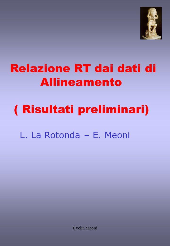 Evelin Meoni Relazione RT dai dati di Allineamento ( Risultati preliminari) L. La Rotonda – E. Meoni