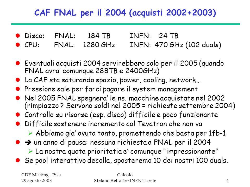 CDF Meeting - Pisa 29 agosto 2003 Calcolo Stefano Belforte - INFN Trieste4 CAF FNAL per il 2004 (acquisti 2002+2003) Disco: FNAL: 184 TB INFN: 24 TB CPU: FNAL: 1280 GHz INFN: 470 GHz (102 duals) Eventuali acquisti 2004 servirebbero solo per il 2005 (quando FNAL avra comunque 288TB e 2400GHz) La CAF sta saturando spazio, power, cooling, network… Pressione sale per farci pagare il system management Nel 2005 FNAL spegnera le ns.