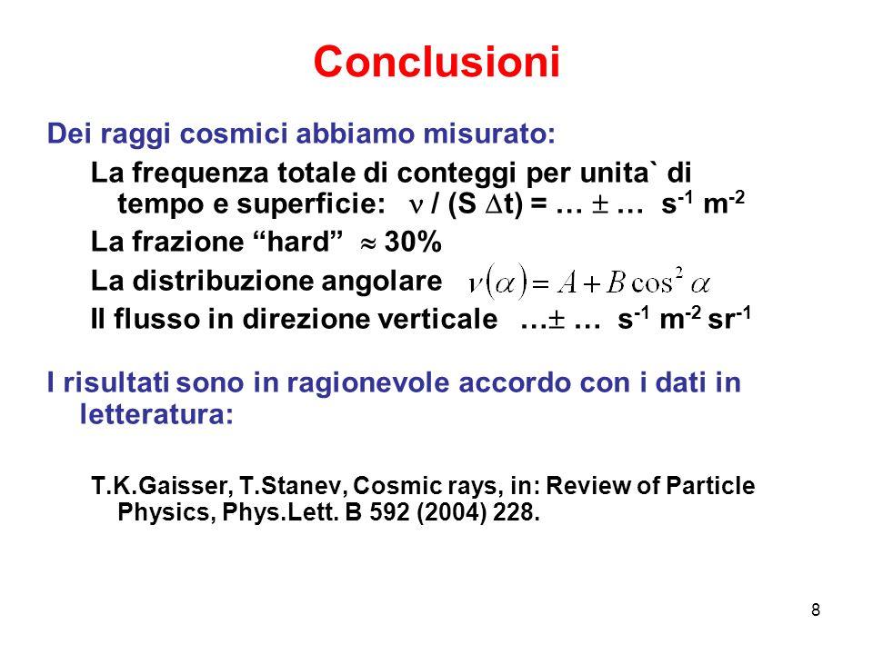 8 Conclusioni Dei raggi cosmici abbiamo misurato: La frequenza totale di conteggi per unita` di tempo e superficie: / (S t) = … … s -1 m -2 La frazion
