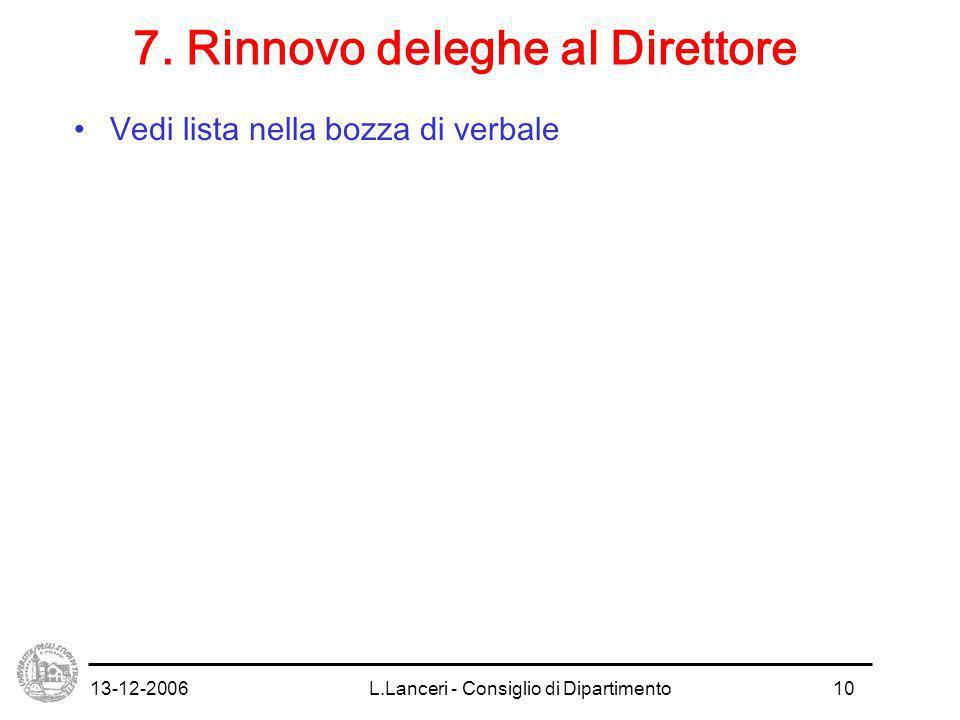 13-12-2006L.Lanceri - Consiglio di Dipartimento10 7.