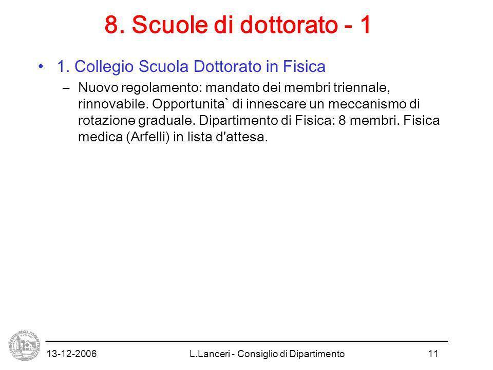 13-12-2006L.Lanceri - Consiglio di Dipartimento11 8.