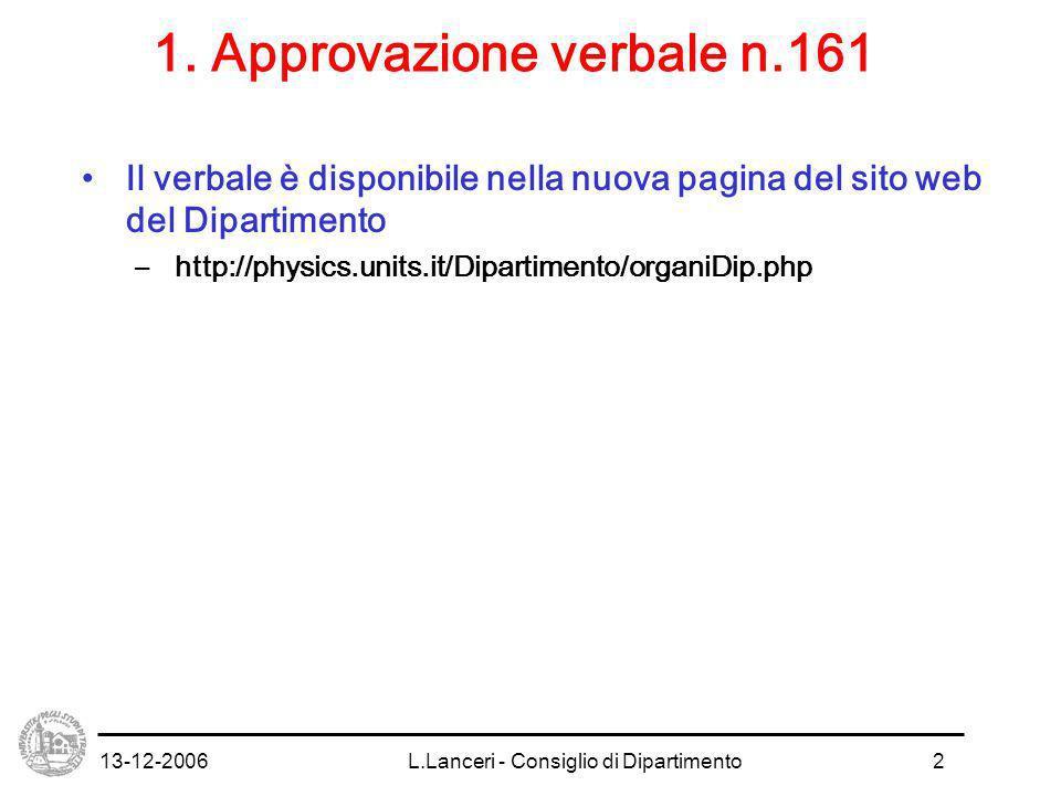 13-12-2006L.Lanceri - Consiglio di Dipartimento2 1.