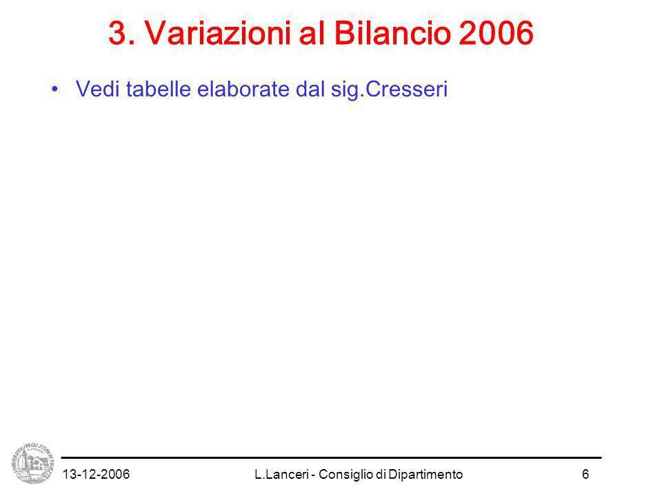 13-12-2006L.Lanceri - Consiglio di Dipartimento7 4.