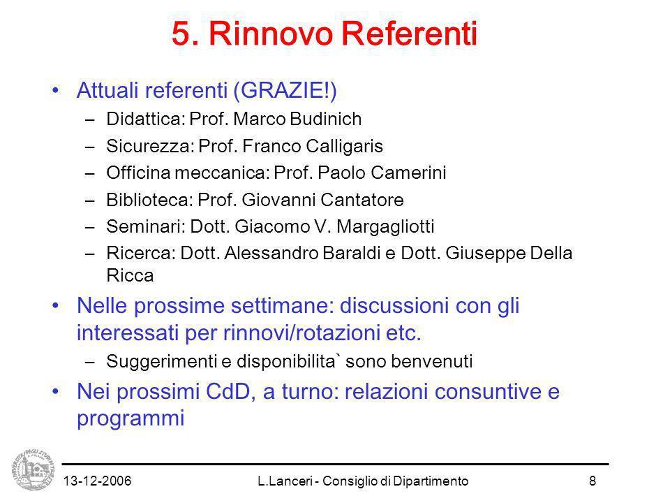 13-12-2006L.Lanceri - Consiglio di Dipartimento9 6.