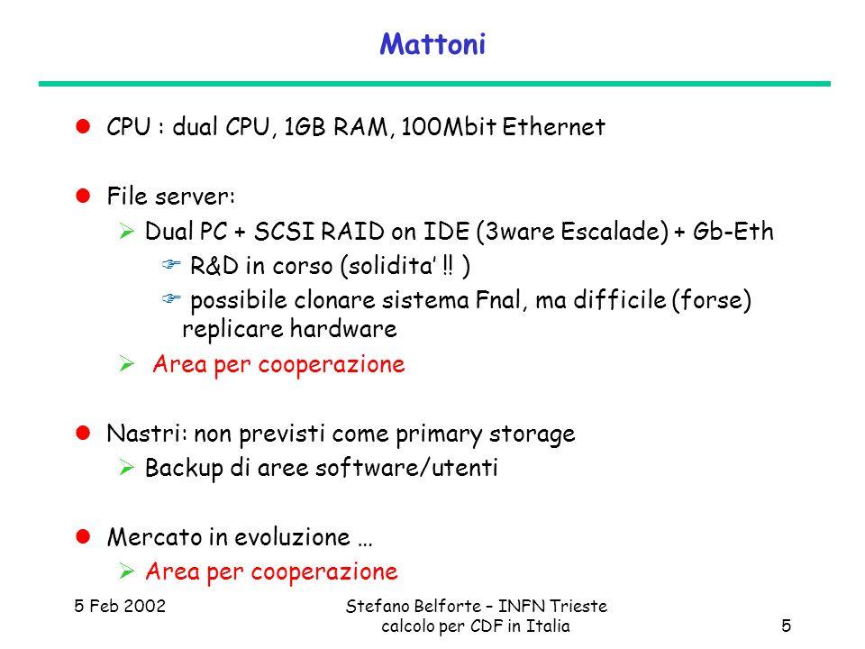 5 Feb 2002Stefano Belforte – INFN Trieste calcolo per CDF in Italia5 Mattoni CPU : dual CPU, 1GB RAM, 100Mbit Ethernet File server: Dual PC + SCSI RAI
