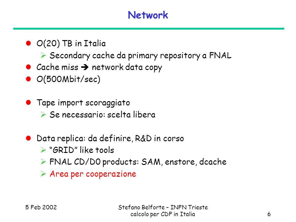 5 Feb 2002Stefano Belforte – INFN Trieste calcolo per CDF in Italia6 Network O(20) TB in Italia Secondary cache da primary repository a FNAL Cache mis