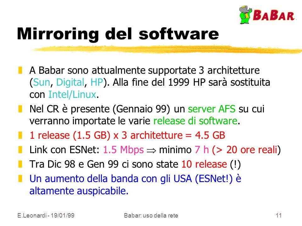 E.Leonardi - 19/01/99Babar: uso della rete11 Mirroring del software zA Babar sono attualmente supportate 3 architetture (Sun, Digital, HP).