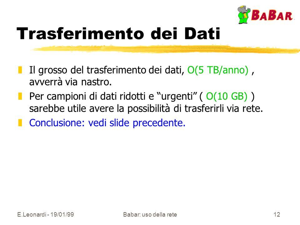 E.Leonardi - 19/01/99Babar: uso della rete12 Trasferimento dei Dati zIl grosso del trasferimento dei dati, O(5 TB/anno), avverrà via nastro. zPer camp