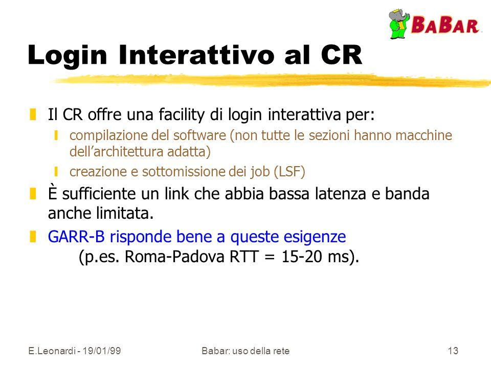 E.Leonardi - 19/01/99Babar: uso della rete13 Login Interattivo al CR zIl CR offre una facility di login interattiva per: ycompilazione del software (n