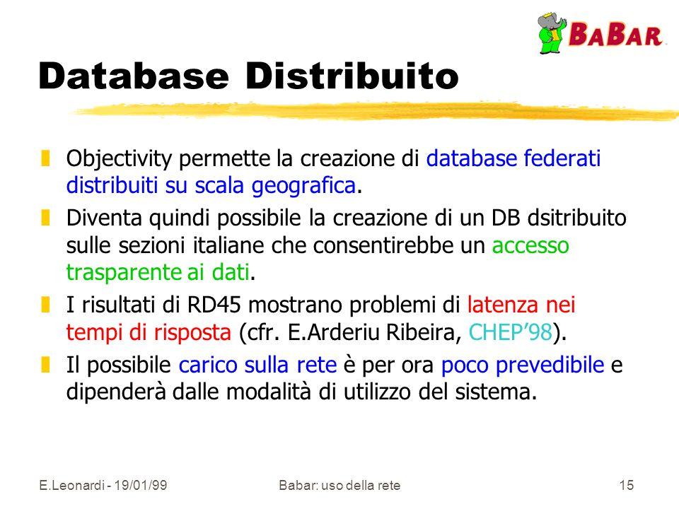 E.Leonardi - 19/01/99Babar: uso della rete15 Database Distribuito zObjectivity permette la creazione di database federati distribuiti su scala geograf