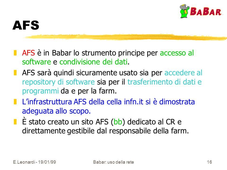 E.Leonardi - 19/01/99Babar: uso della rete16 AFS zAFS è in Babar lo strumento principe per accesso al software e condivisione dei dati. zAFS sarà quin