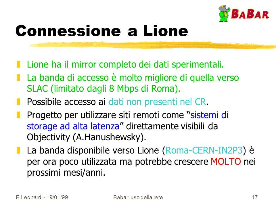 E.Leonardi - 19/01/99Babar: uso della rete17 Connessione a Lione zLione ha il mirror completo dei dati sperimentali.