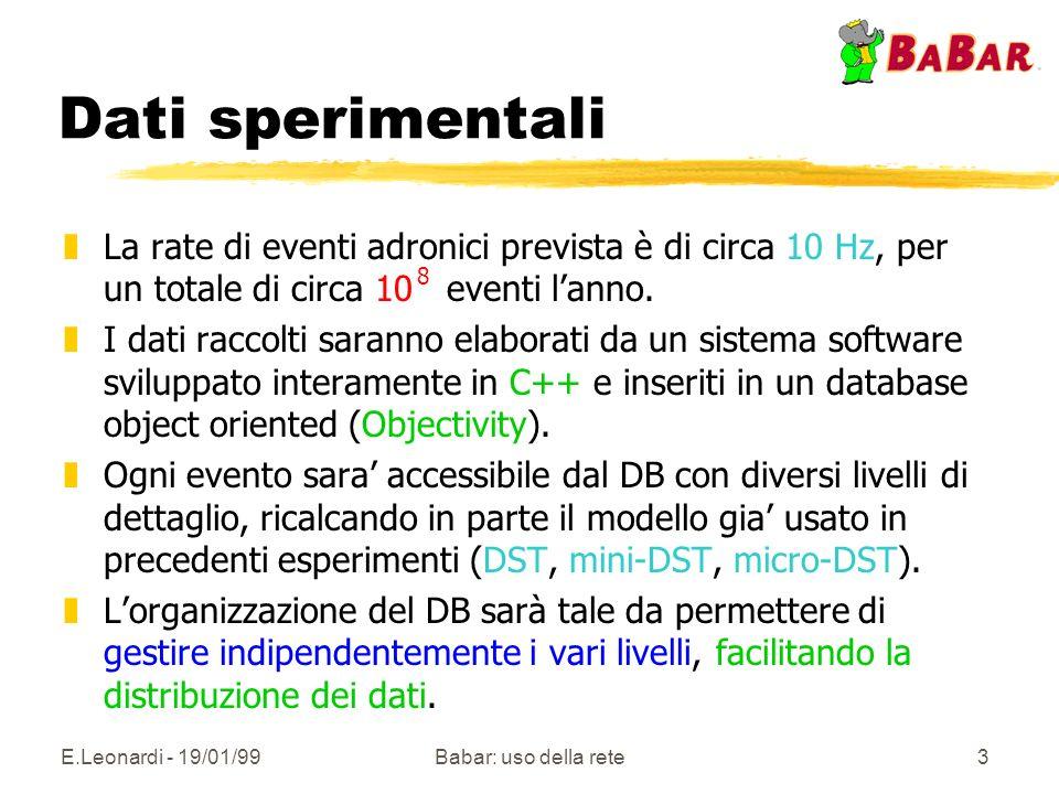 E.Leonardi - 19/01/99Babar: uso della rete3 Dati sperimentali zLa rate di eventi adronici prevista è di circa 10 Hz, per un totale di circa 10 eventi lanno.