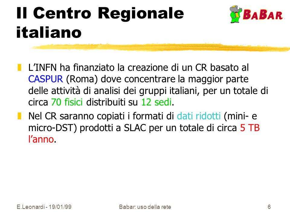 E.Leonardi - 19/01/99Babar: uso della rete6 Il Centro Regionale italiano zLINFN ha finanziato la creazione di un CR basato al CASPUR (Roma) dove concentrare la maggior parte delle attività di analisi dei gruppi italiani, per un totale di circa 70 fisici distribuiti su 12 sedi.