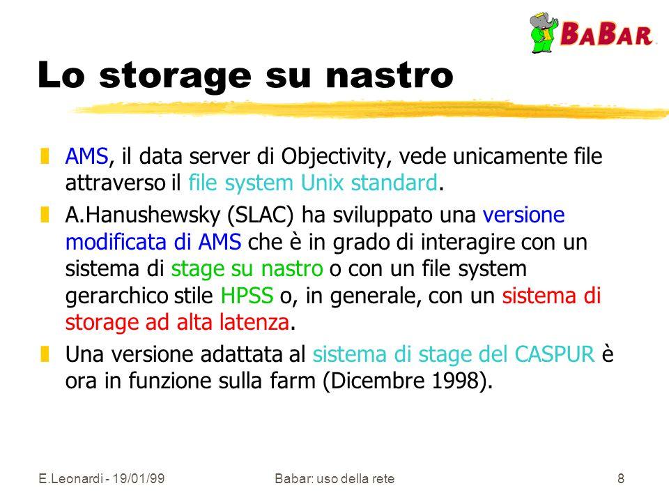 E.Leonardi - 19/01/99Babar: uso della rete8 Lo storage su nastro zAMS, il data server di Objectivity, vede unicamente file attraverso il file system Unix standard.